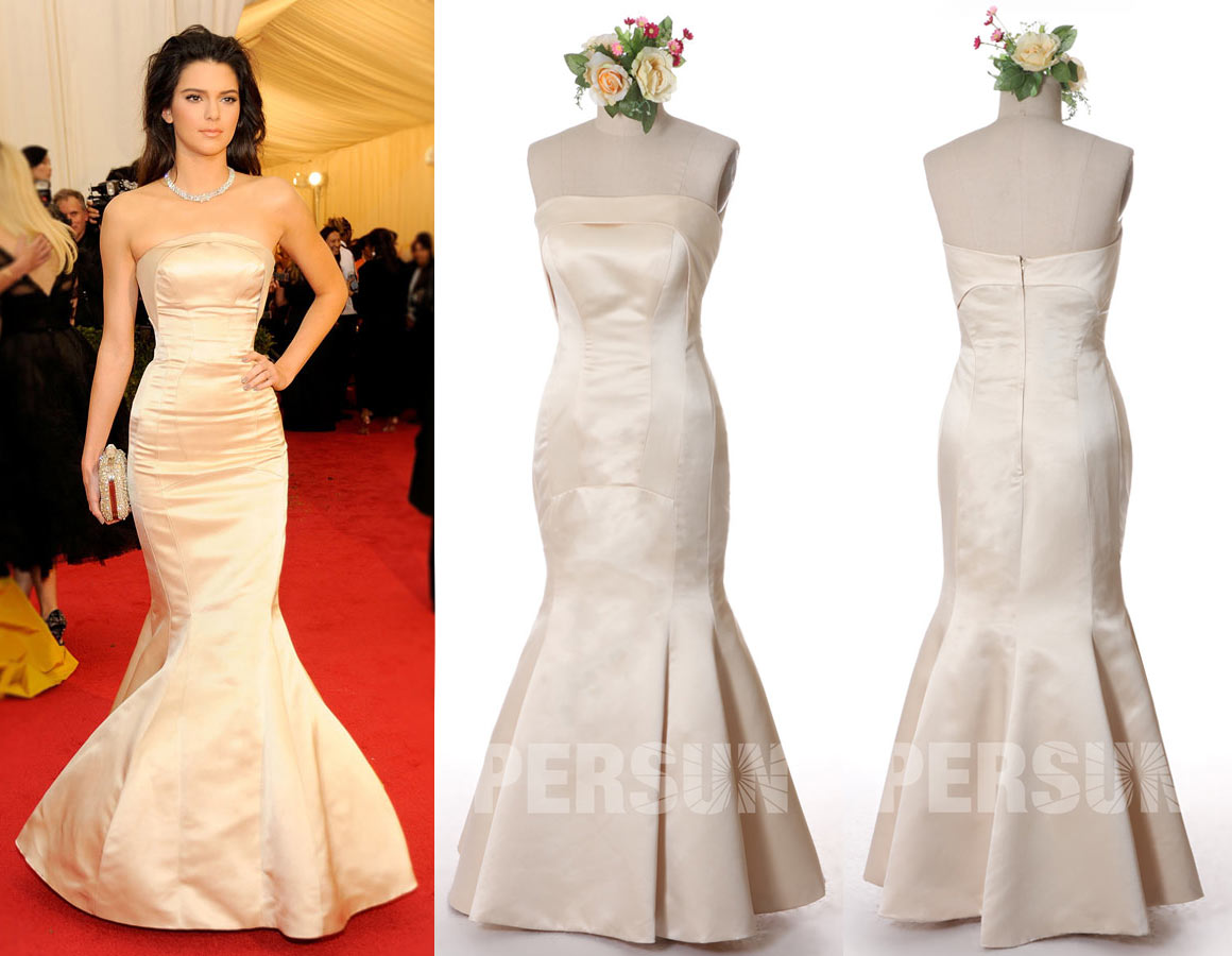 Real dress photo Kendall Jenner's Champagne dress at Met gala 2014