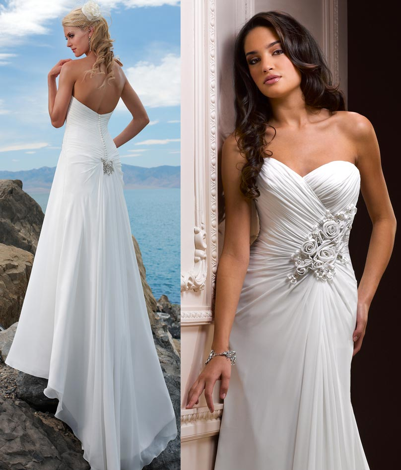 Chiffon Sheer Fabric Wedding Gowns Details
