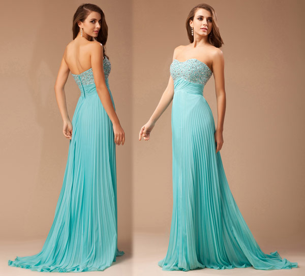 Strapless Empire Pleated Evening gown