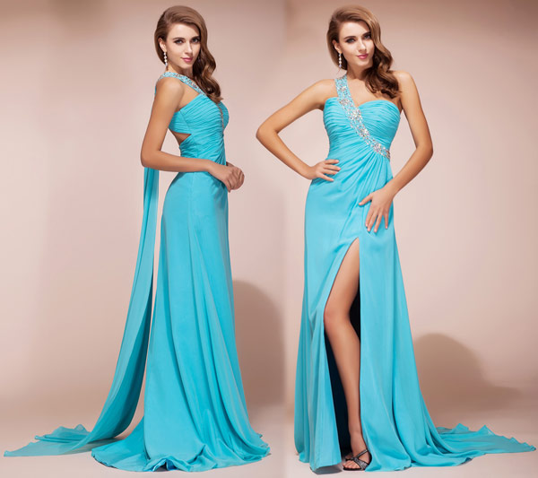 Single Strap Front slit Evening gown in Turquoise