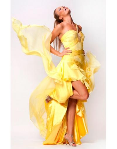 Striking Yellowe High Low Prom Dress at persun.cc
