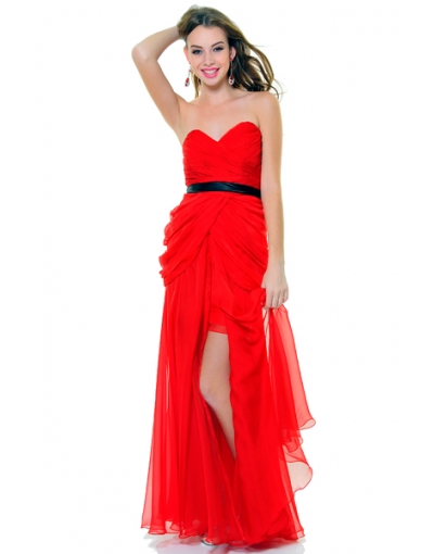 Red Sweetheart Draping High Low Prom Dress at persun.cc