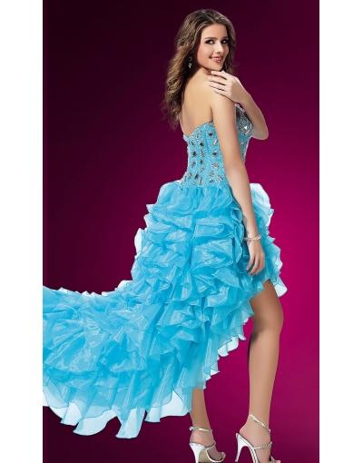 Blue Rufffle High Low Prom Dress at persun.cc