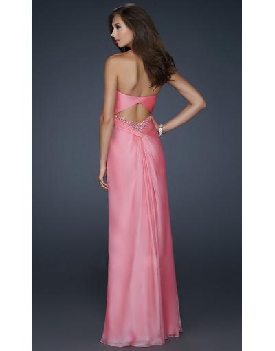 Pink Backless Evening Dress at persun.cc