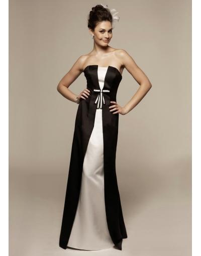 Black and White Floor Length Bridesmaid Dress