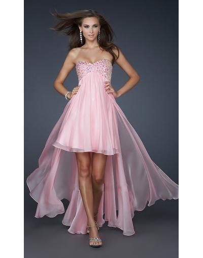 Sweet Pink High Low Prom Dress at persun.cc