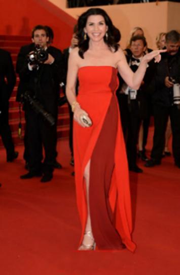 Red Strapless Split Front Evening Dress