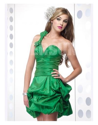 One Shoulder Green Short Homecoming Dress 2012