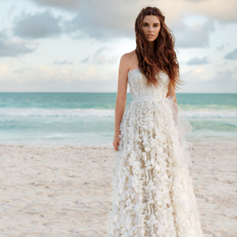 Simple Ruffle Destination Wedding Dress
