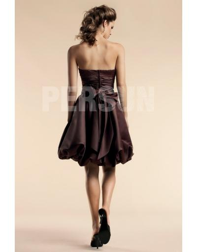 Strapless Coffee Short Homecoming Dress