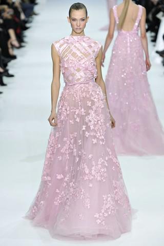 Pink Lace Floor Length Dress