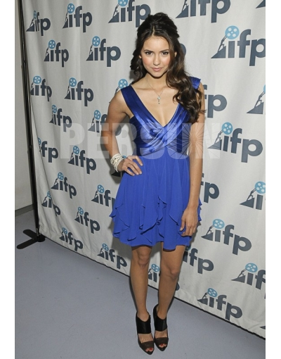 V-neck Ruffles Blue Nina Dobrev Satin Celebrity Dress