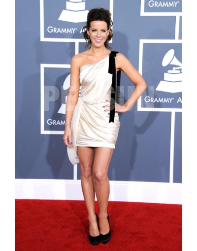 Sexy One Shoulder Ruching Kate Beckinsale Satin Celebrity Dress