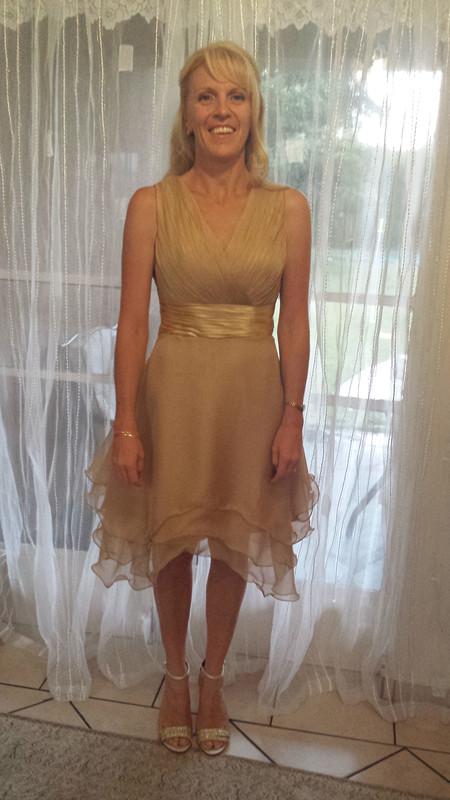 Knee length V neck formal dress