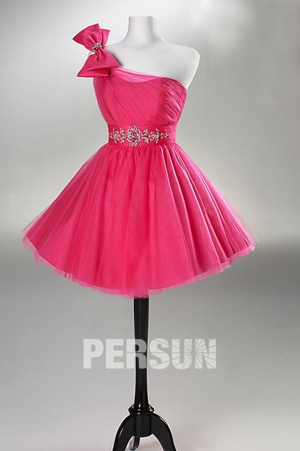 A Line One Shoulder Beaded Applique Short Taffeta fuchsia Prom / Cocktail Dress