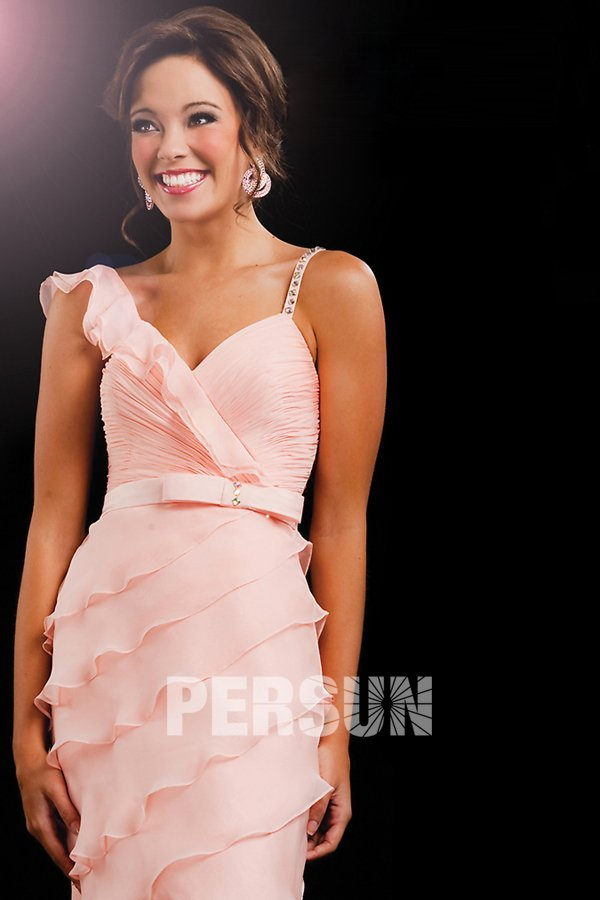 Pink Wedding guest dress with ruched bodice and assymetrical straps & tiered skirt