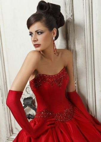 Red wedding dress and gloves