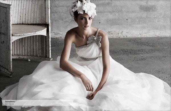 one shoulder bridal dress