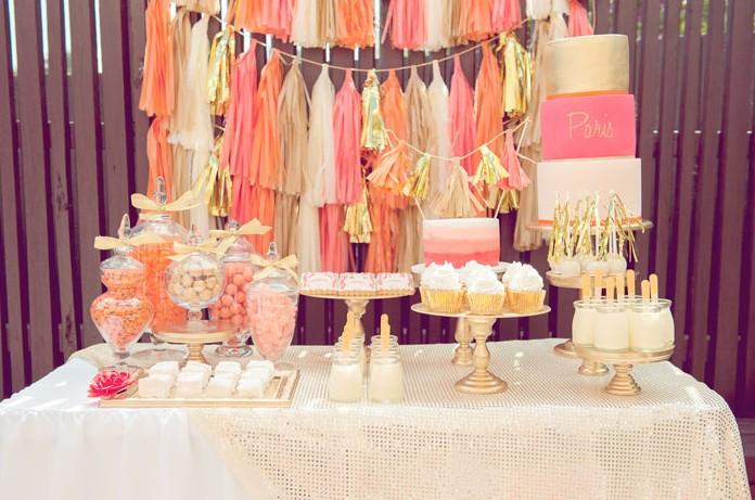 Delicious orange dessert for wedding table set