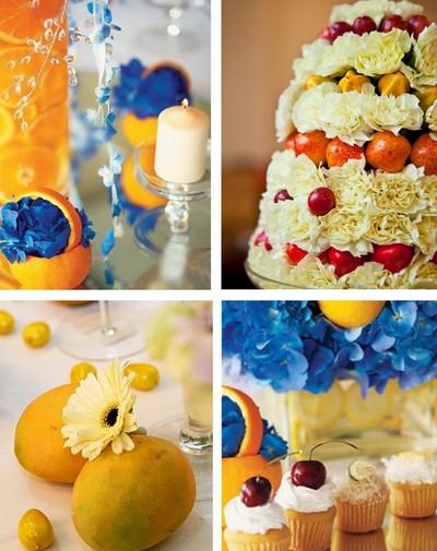 fruit theme wedding decoration ideas, orange, mango