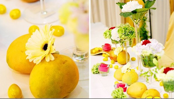 wedding cocktail decoration with lemons with high foot toast