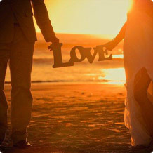 love letter under sunset wedding photo