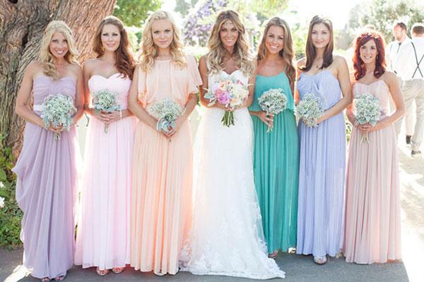 Pastel color Long bridesmaid gowns