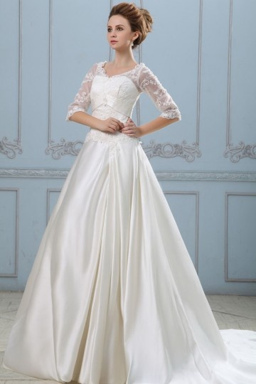 buy discount lace wedding dresses with sleeves 2015 UK online