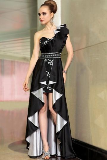 buy discount one shoulder black elastic satin evening gowns