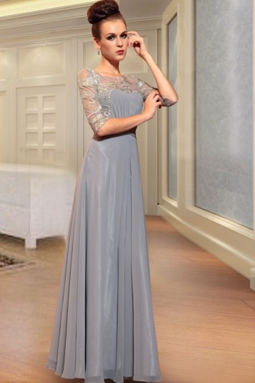 buy affordable silver evening gowns with sleeves