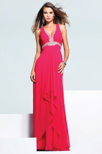 buy discount red  V neck chiffon evening gowns 2015