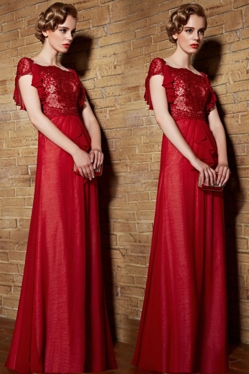 buy cheap A line long red evening dresses Persun