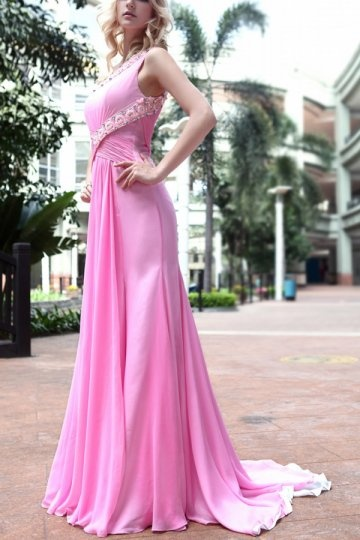 buy discount one shoulder pink evening dresses online