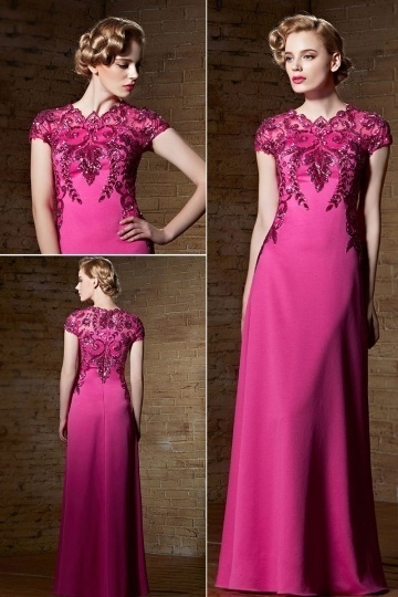 buy cheap red evening dress with sleeves