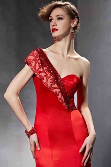 buy discount  one shoulder red evening dresses Persun online