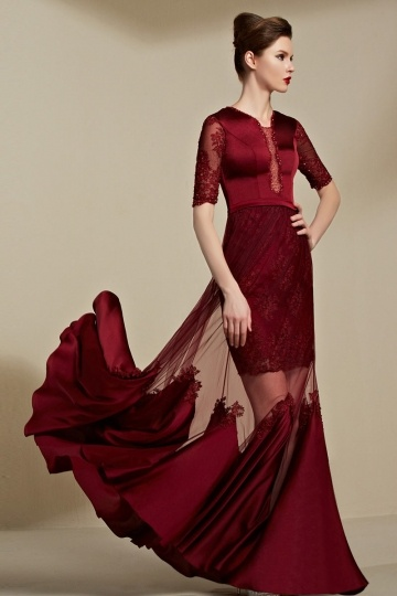 Buy cheap elegant red evening gowns with sleeves online