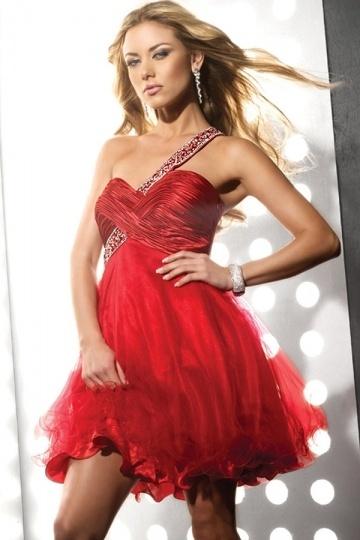 buy cheap one shoulder red evening dresses  online