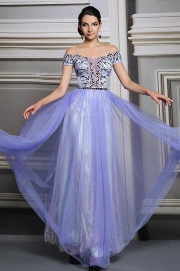 buy discount purple off the shoulder evening dresses online