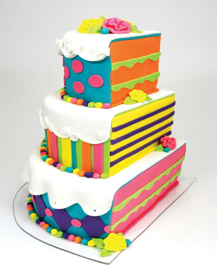rainbow strip wedding cake