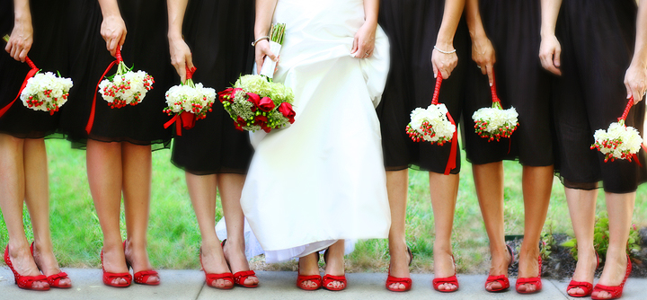 red shoes for bridesmaids