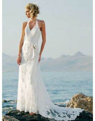 Simple Halter Destination Wedding Dress